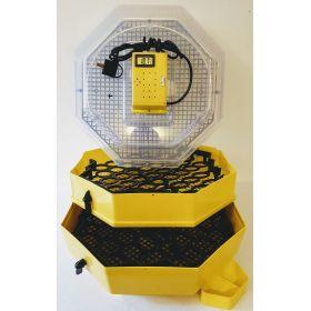 Incubator Cleo 5 cu etaj, termohigrometru digital, întoarcere semi-automată ouă de găină & prepeliţă şi cupă exterioară pt. apă