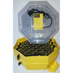 Incubator Cleo 5 cu etaj, termohigrometru digital, întoarcere semi-automată ouă de prepeliţă şi cupă exterioară pt. apă
