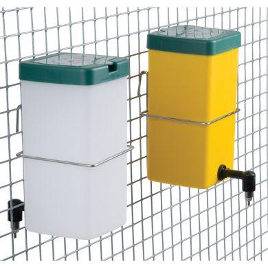 Adapatori iepuri 1 litru niplu metalic pahar borcan recipient cupa port-sticla galbena sau alba capac verde si clema prindere