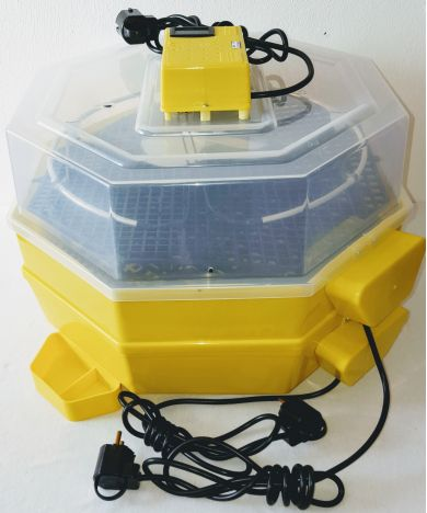 Incubator Cleo 5 cu etaj, termohigrometru digital, întoarcere automată ouă de găină & prepeliţă şi cupă exterioară pt. apă